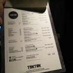 tuk tuk menu 2019